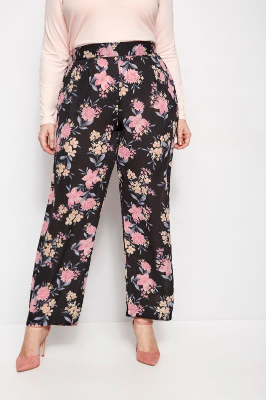 Plus Size Straight Leg Trousers YOURS LONDON Black Floral Straight Leg Trousers