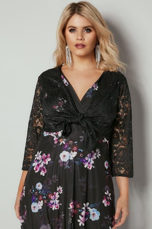 Plus Size Shrugs YOURS LONDON Black Floral Stretch Lace Shrug