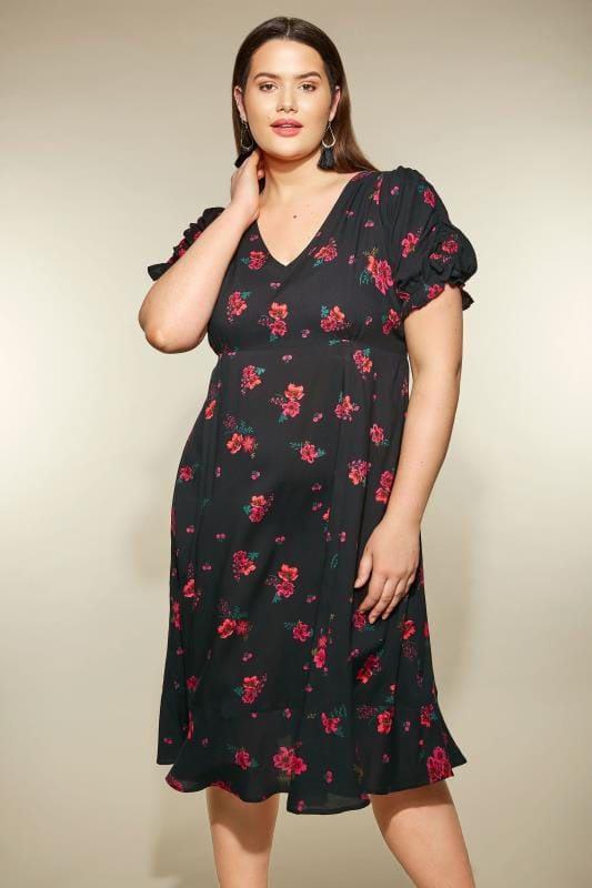Plus Size Skater Dresses YOURS LONDON Black Floral Tea Dress