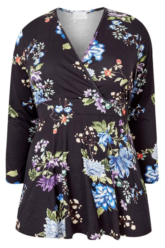 Plus Size Blouses YOURS LONDON Black Floral Wrap Top