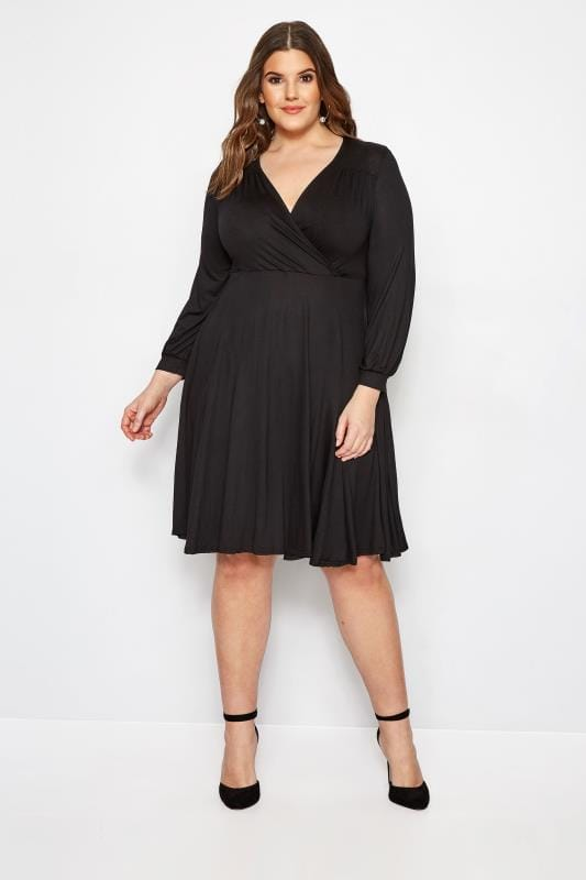 YOURS LONDON Black Godet Wrap Dress