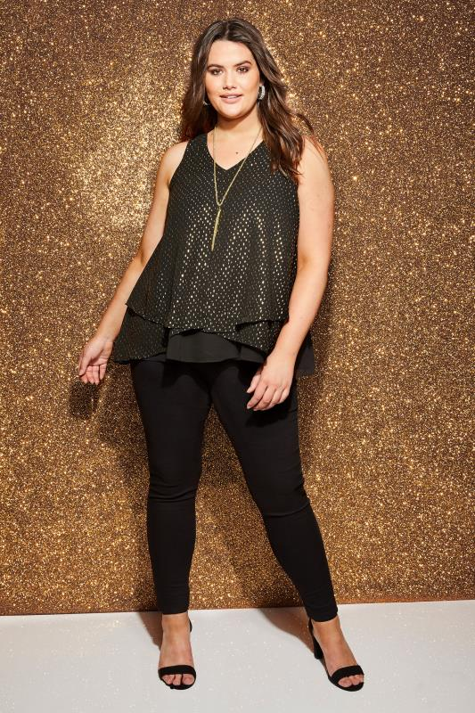 YOURS LONDON Black & Gold Layered Chiffon Top