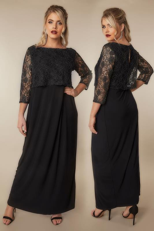Black Gold Maxi Lace Overlay Dress With Long Sleeves Plus Size 16