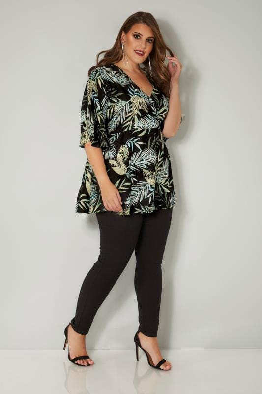 YOURS LONDON Black & Green Palm Leaf Wrap Blouse With Kimono Sleeves