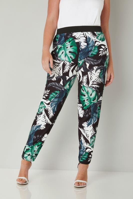 Plus Size Harem Trousers YOURS LONDON Black & Green Tropical Leaf Print Harem Trousers
