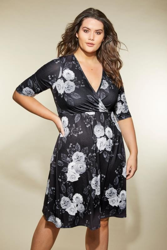 Plus Size Midi Dresses YOURS LONDON Black & Grey Floral Wrap Dress