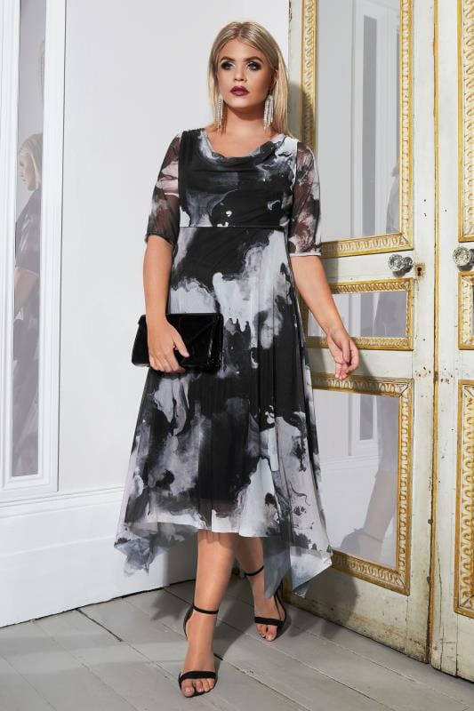 Plus Size Midi Dresses YOURS LONDON Black,Grey & Pink Marble Mesh Dress With Cowl Neck & Hanky Hem