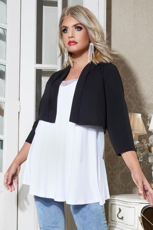 Plus Size Shrugs YOURS LONDON Black Jersey Crepe Bolero Jacket