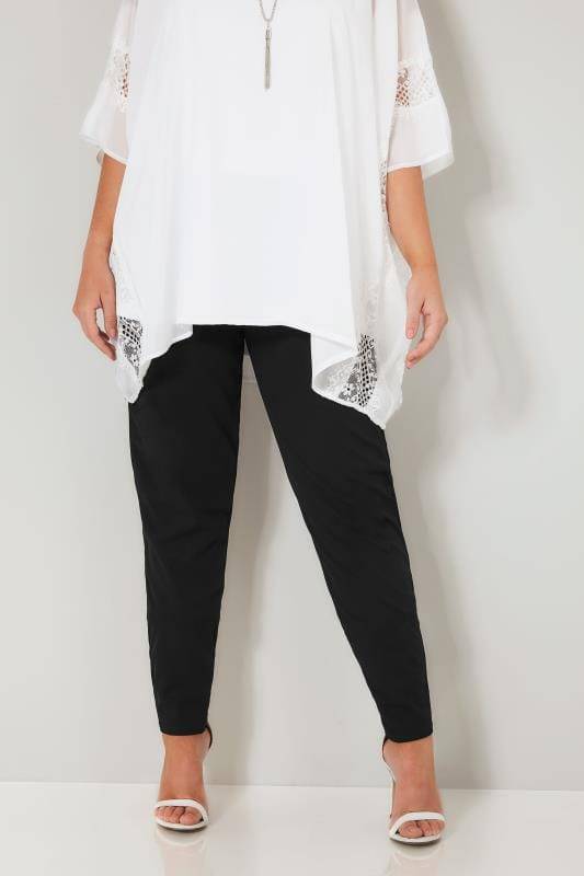 YOURS LONDON Black Jersey Crepe Harem Trousers