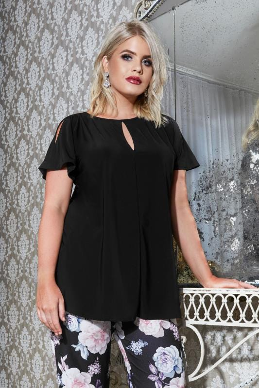Plus Size Smart Jersey Tops YOURS LONDON Black Jersey Top With Keyhole Front & Shoulder Splits