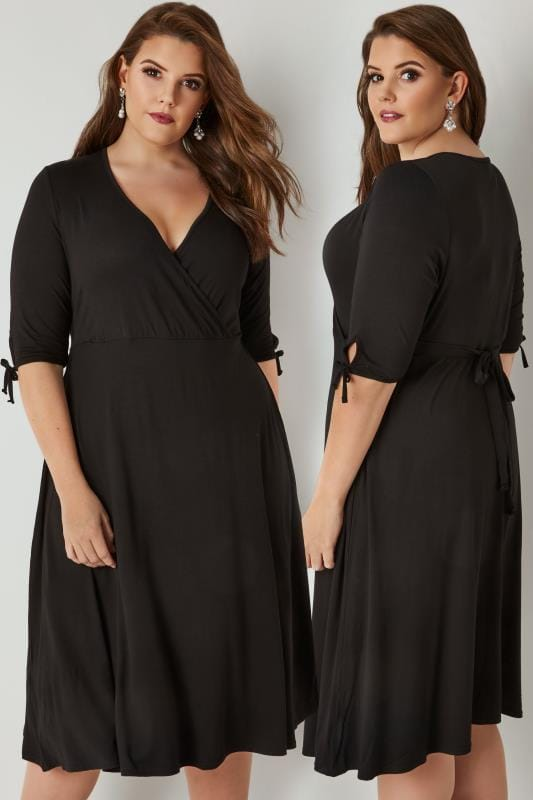 Plus Size Skater Dresses YOURS LONDON Black Jersey Wrap Dress With 3/4 Length Tie Sleeves