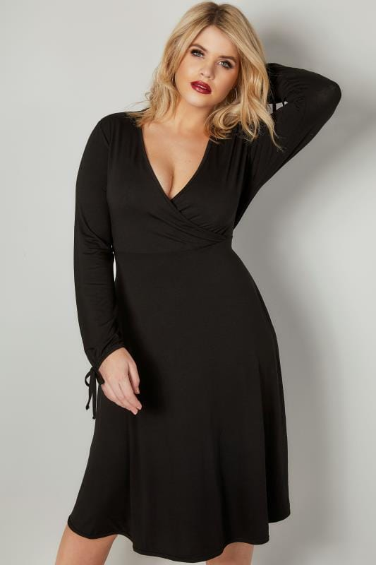 YOURS LONDON Black Jersey Wrap Dress With Long Tie Sleeves