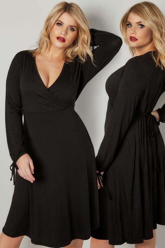 Plus Size Skater Dresses YOURS LONDON Black Jersey Wrap Dress With Long Tie Sleeves