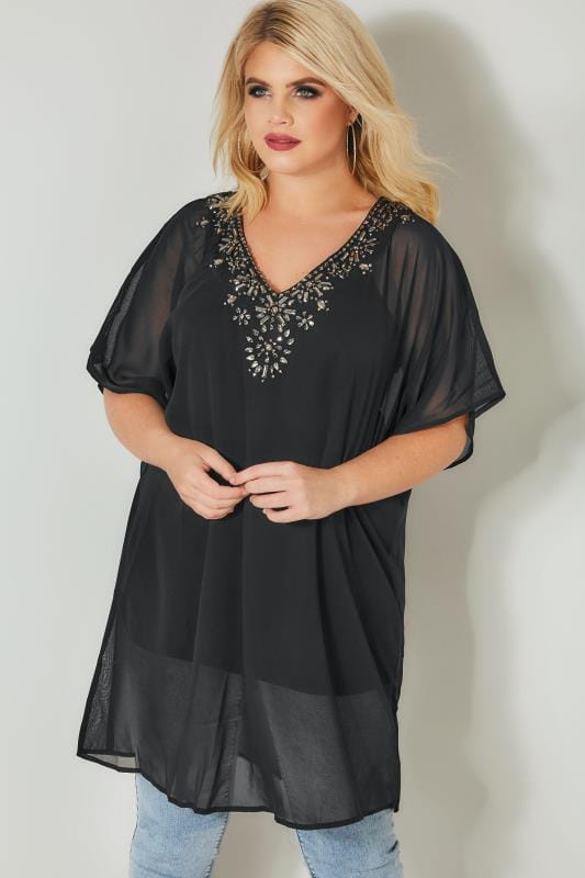 Plus Size Day Tops YOURS LONDON Black Jewel Embellished Chiffon Kimono Top