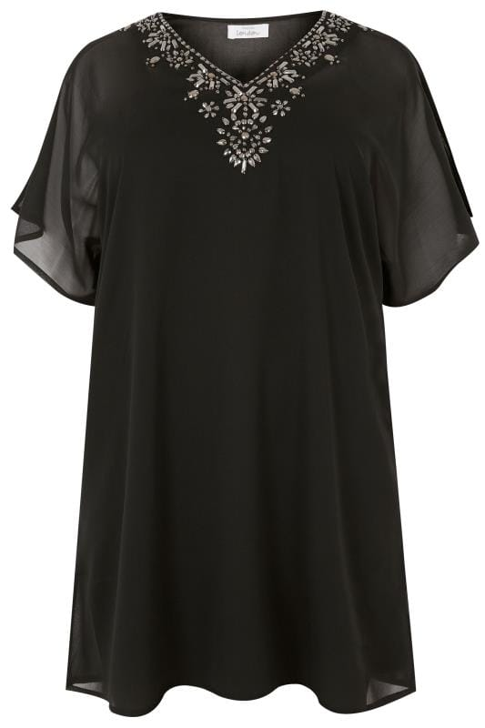 Plus Size Day Tops YOURS LONDON Black Jewell Embellished Chiffon Kimono Top