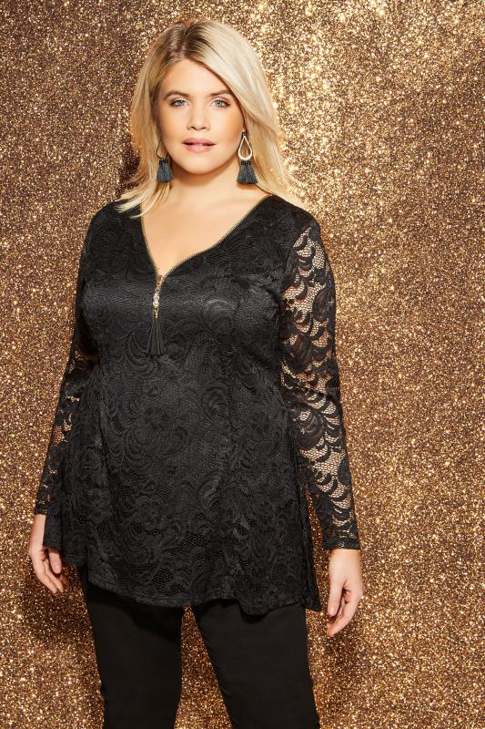 Plus Size Party Tops YOURS LONDON Black Lace Godet Zip Front Top