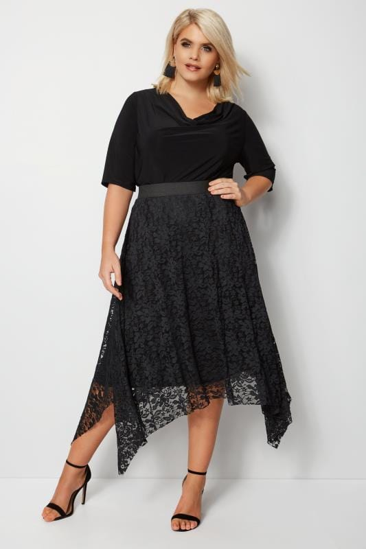 Black Lace Hanky Hem Skirt