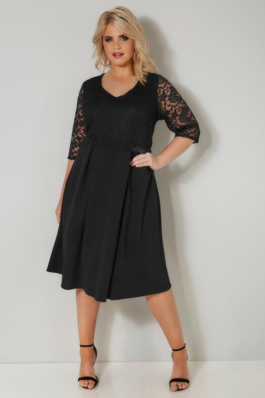 Plus Size Skater Dresses YOURS LONDON Black Midi Dress with Lace Overlay