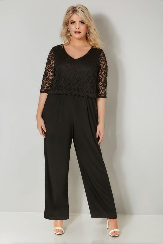 3cab190b14b Plus Size Jumpsuits YOURS LONDON Black Lace Overlay Jumpsuit