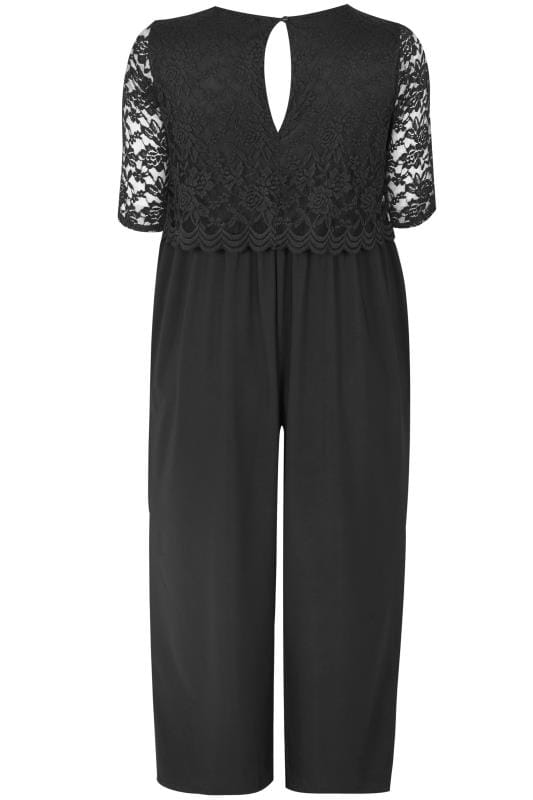 YOURS LONDON Black Lace Overlay Jumpsuit