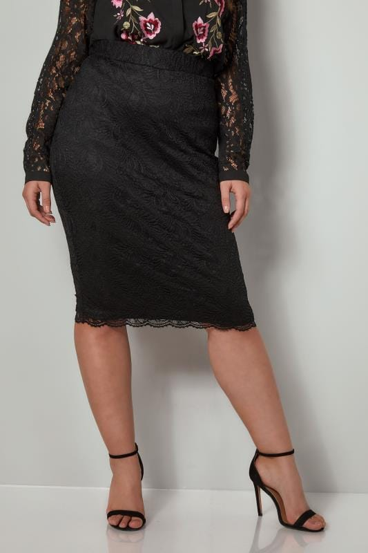 Plus Size Pencil Skirts YOURS LONDON Black Stretch Lace Pencil Skirt With Scalloped Hem
