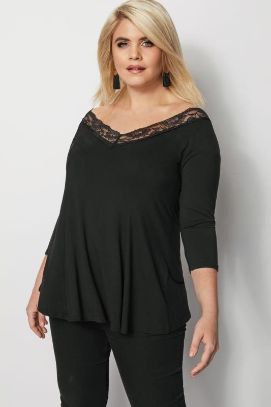 Plus Size Day Tops YOURS LONDON Black Lace Swing Top