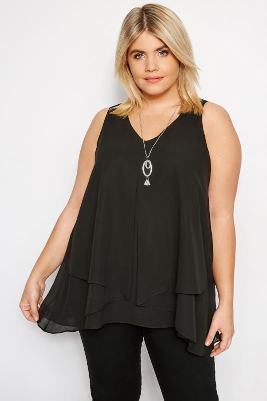 Plus Size Singlets & Tank Tops YOURS LONDON Black Layered Chiffon Top