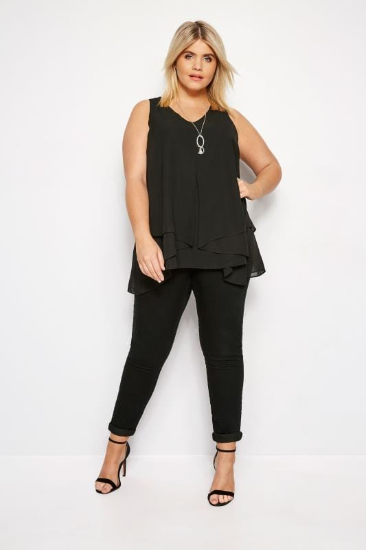 YOURS LONDON Black Layered Chiffon Top