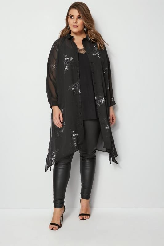 YOURS LONDON Black Marble Chiffon Shirt