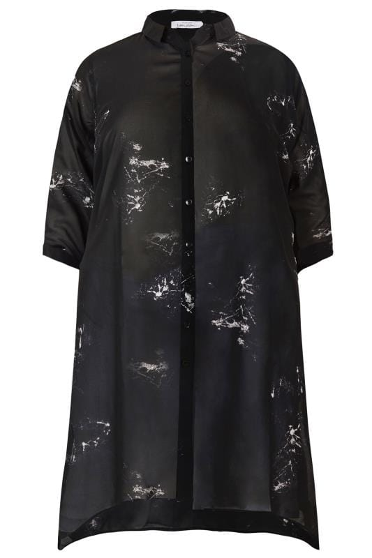 Plus Size Blouses & Shirts YOURS LONDON Black Marble Chiffon Shirt