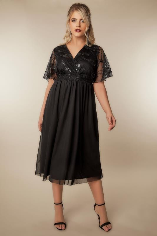 Black Mesh Midi Dress With Sequin Embellishment, Plus Size -7849