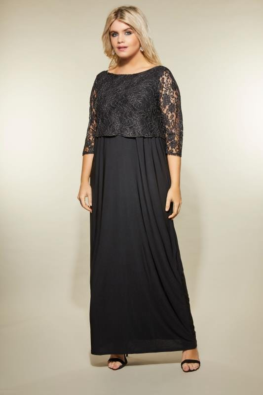 87449e4871 YOURS LONDON Black Metallic Lace Maxi Dress, plus size 16 to 36