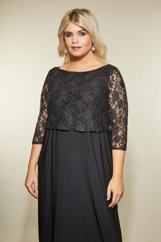 YOURS LONDON Black Metallic Lace Maxi Dress