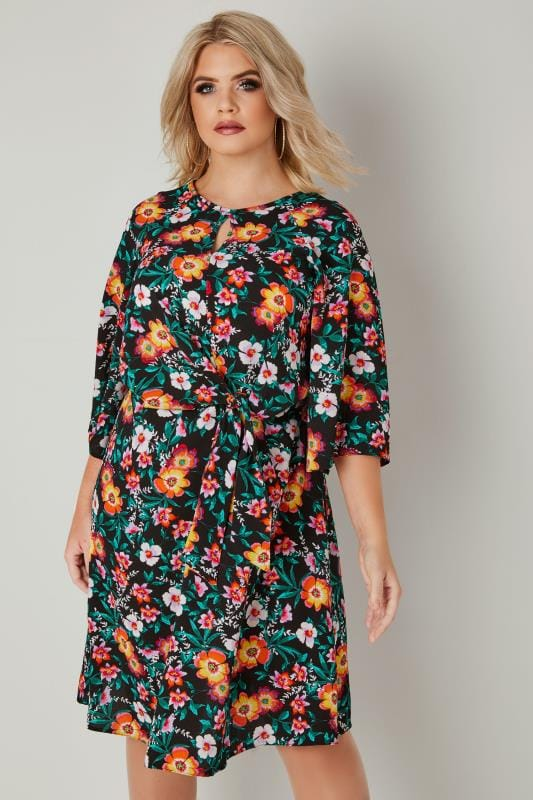 Plus Size Sleeved Dresses YOURS LONDON Black & Multi Colour Floral Dress With Tie Front