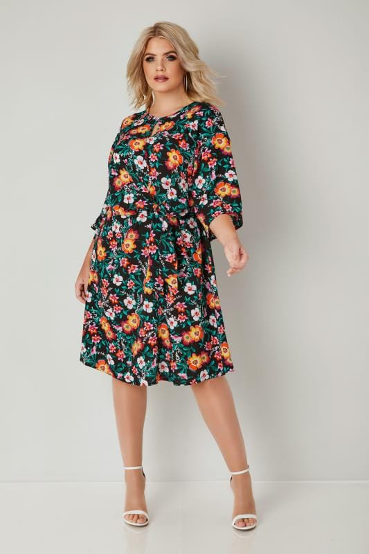 YOURS LONDON Black & Multi Colour Floral Dress With Tie Front