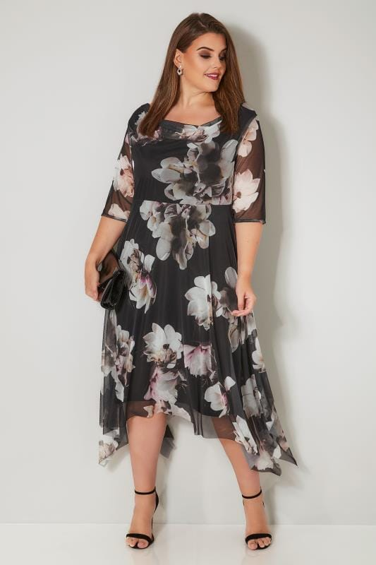 Plus Size Black Dresses YOURS LONDON Black & Cream Floral Mesh Dress With Cowl Neck & Hanky Hem