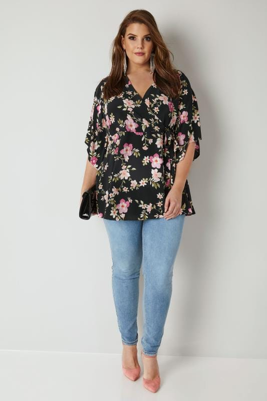 YOURS LONDON Black & Multi Floral Print Wrap Blouse With Kimono Sleeves