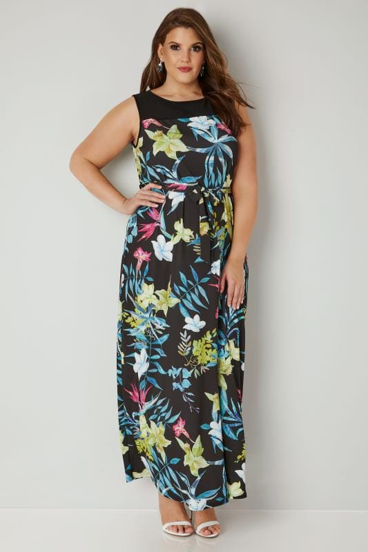 Plus Size Maxi Dresses YOURS LONDON Black & Multi Tropical Floral Print Maxi Dress