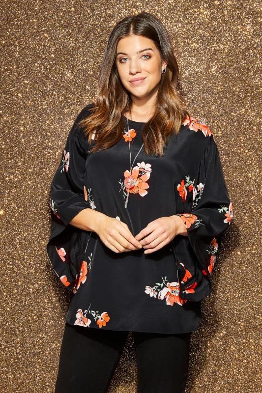YOURS LONDON Black & Peach Floral Top