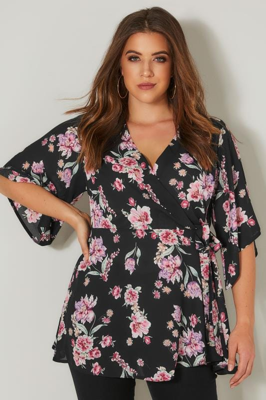 Plus Size Blouses YOURS LONDON Black & Pink Chiffon Wrap Blouse With Kimono Sleeves