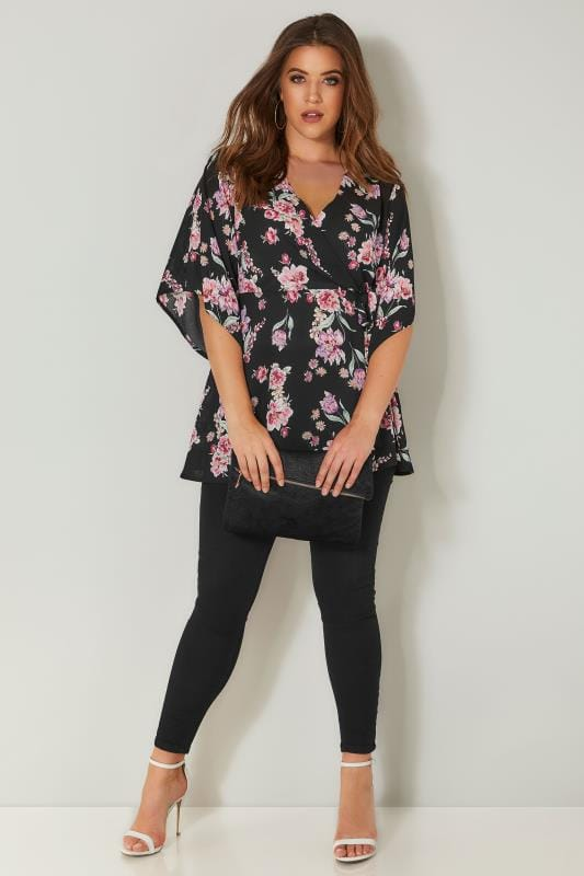 YOURS LONDON Black & Pink Wrap Blouse With Kimono Sleeves