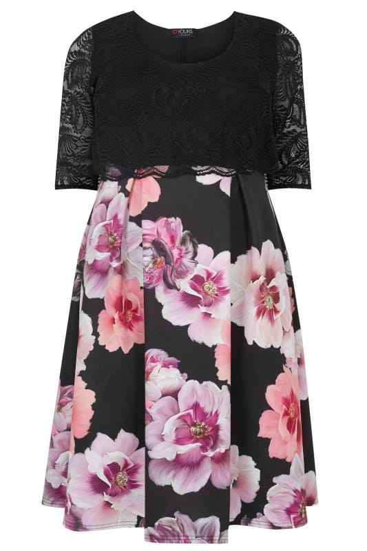 YOURS LONDON Black & Pink Floral Print Lace Overlay Midi Dress