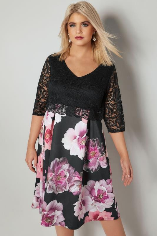 Plus Size Party Dresses YOURS LONDON Black & Pink Floral Print Lace Overlay Midi Dress