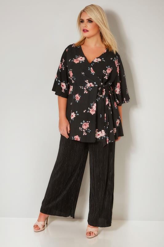 YOURS LONDON Black & Pink Floral Wrap Blouse With Kimono Sleeves