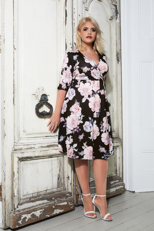 YOURS LONDON Black & Pastel Floral Wrap Dress