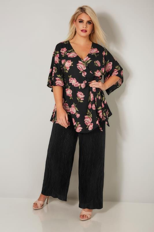 YOURS LONDON Black & Pink Peony Wrap Blouse With Kimono Sleeves
