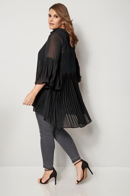 YOURS LONDON Black Pleated Longline Shirt