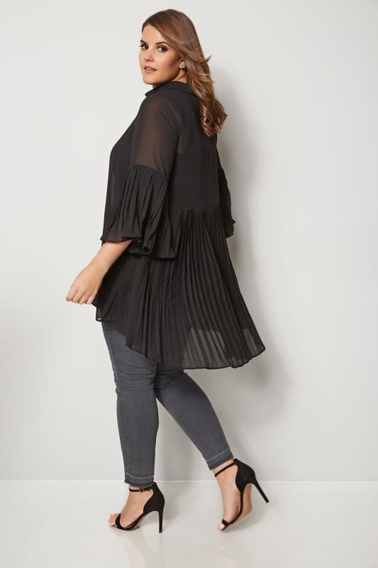22f39e96905d6 Plus Size Shirts YOURS LONDON Black Pleated Longline Shirt