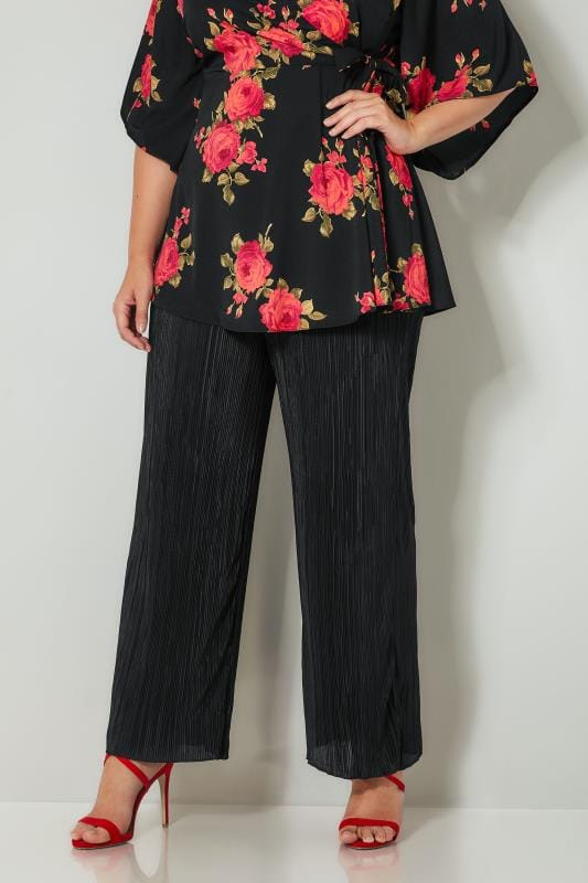 Plus Size Straight Leg Trousers YOURS LONDON Black Plissé Wide Leg Trousers