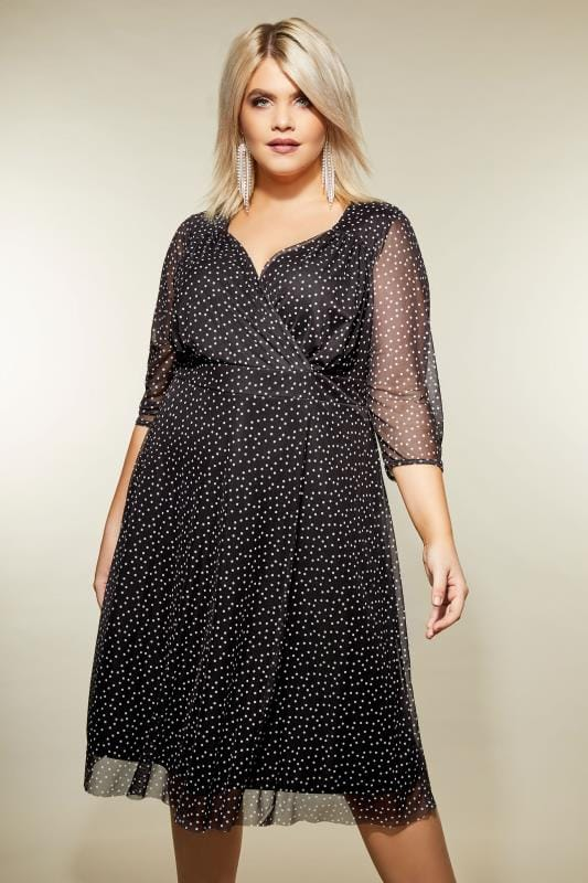 Plus Size Skater Dresses YOURS LONDON Black Polka Dot Wrap Dress